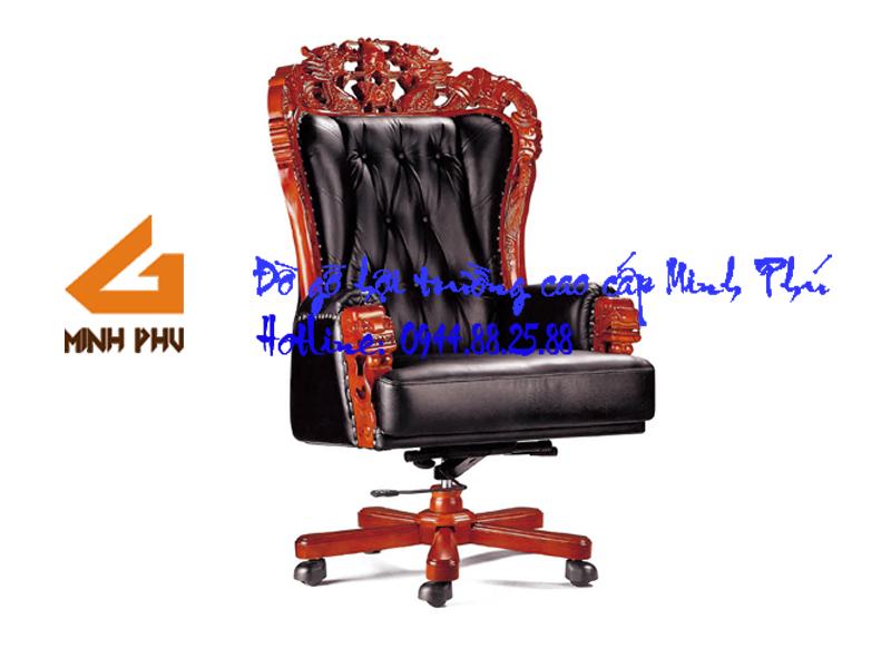 Ghế giám đốc đầu rồng gỗ tự nhiên cao cấp - GGD 025